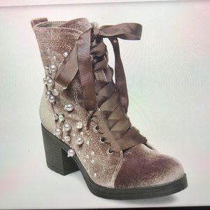 Madden Girl taupe velvet pearls combat boots 9